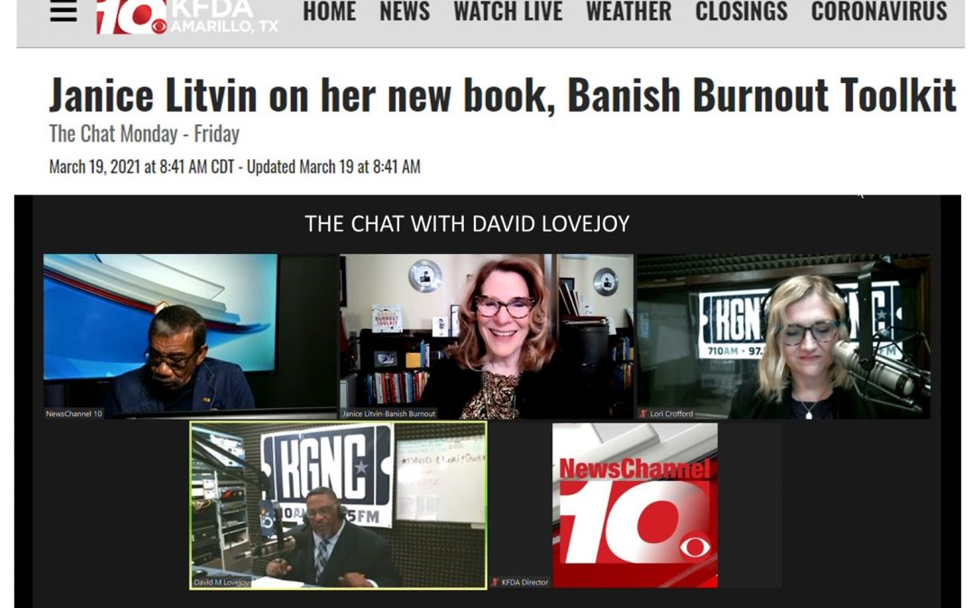Janice Litvin Appeared on NewsChannel10's The Chat – David Lovejoy to talk about Banish Burnout Toolkit